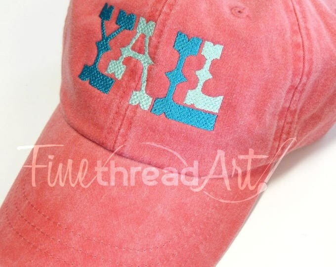 Featured listing image: LADIES Yall Baseball Cap Hat LEATHER strap Monogram Preppy Bachelorette Pigment Dyed Acadiana South Southern Y'all