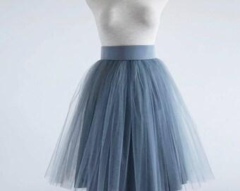 Grey Tulle skirt. Tulle skirt. Woman tulle skirt. Tea length tulle skirt. Tutu skirt.