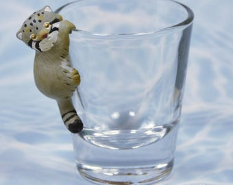 Hand Sculpted Pallas's cat Manul 1.5 oz Shotglass