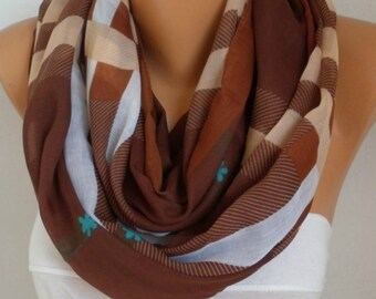Brown&Beige White Plaid Cotton Scarf,Soft,Tartan Scarf,Christmas,Birthday Gift,Cowl, Oversized Gift For Her, Women Fashion Accessories
