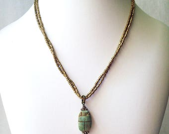 Two Strand Pendant Necklace, Ceramic Scarab Pendant, Tiny Metal Brass Bead Jewelry, Vintage Look Necklace, Boho Chic Style Jewellery