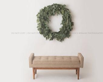 "Christmas Digital Backdrops -""Eucalyptus Wreath""-Family Digital Background- 2 DIGITAL DOWNLOADS"
