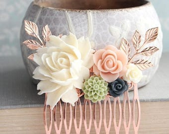 Floral Hair Comb, Rose Gold Branches, Navy Blue Rose, Ivory Cream Rose, Blush Pink Wedding, Bridal Hair Piece, Bridesmaids Gift, Off White