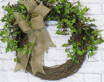 Year Round Wreath, Farmhouse Wreath, Rustic Berry Wreath, Farmhouse Decor, All Seasons Wreath, Greenery Wreath