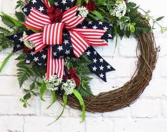 Fourth of July Wreath, Patriotic Wreath, Floral Patriotic Wreath, Americana Decor, Grapevine Patriotic,  Memorial Day Wreath