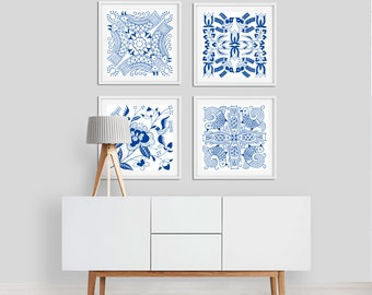 Blue and White Wall Art Prints, Set of 4 Bird Flower Artwork, Dining Room Wall Art, Bedroom Wall Art Set, Living Room Square Art