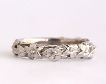 Flower And Leaf Wedding Band, Leaves And flowers Wedding Ring, White Gold Leaf And Flowers Wedding Ring, Forest Nature Floral Wedding Ring