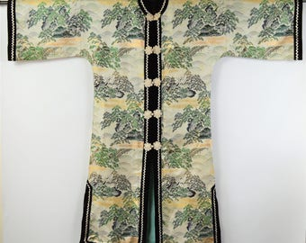 Vintage Asian Robe Crown Label 1950s Beige and Black and Green Brocade Velvet Trim Silver Metallic RicK Rack Size Small Japanese Robe