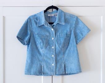 Vintage 90's Cropped Denim Shirt / Minimalist / Short Sleeve / Modern / Boxy / Top / Size Medium
