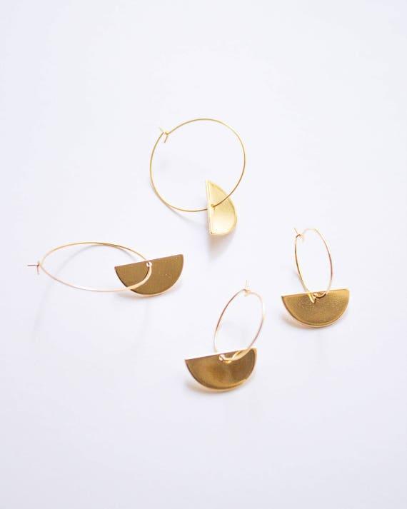 the Artemis -earrings (semi circle geometric hoop earrings minimal every day 16k gold plated)
