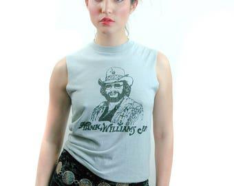 Vintage Hank Williams JR Tee 1980s Sleeveless Gray Tee 1980s Tee 1980s Shirt Band tee Country Music Tee Sleeveless Tee Boho Rocker Punk S