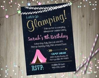 Glamping invitation glamping birthday invitation camping invitation camping sleepover camping birthday invitation campfire cookout