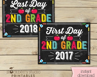 First Day and Last Day of 2nd Grade Signs - First Day of 2nd Grade Sign Printable - Instant Download First Day and Last day of School Signs