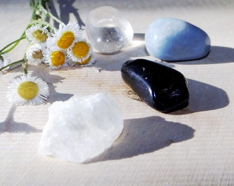 Spiritual Journey crystal set - Petalite, Tektite, Angelite, Smoky Quartz, Set of 4, crystal healing