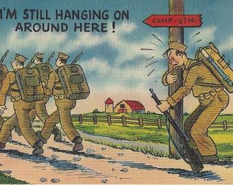 Vintage Tichnor Bros. Comic Military Lithograph Linen Postcard, 1930-1945