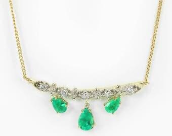 6.70 Ct Bib Vintage Emerald Necklace 14K, Yellow Gold Pear Emerald and Diamond Necklace, Fine Emerald and Diamond Gold Pendant, Emerald Gift