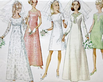 Vintage Simplicity 7538 Sewing Pattern, Wedding Gown Pattern, 1960s Dress Pattern, 1960s Bridal Gown Pattern, 1960s Sewing Pattern, Bust 38