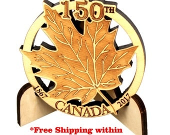 Canada 150 Wood Coaster and Wooden Coaster Display, FREE Standard Shipping*, Single Coaster holder, Masterpiece Lasered Wood, Paul Szewc