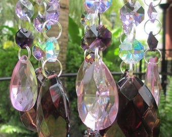 Purple and Pink Crystal Wind Chime - Chandelier Crystals Windchime - Pretty In Pastels