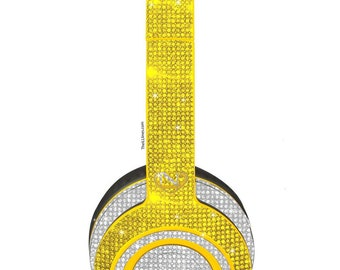 Custom Gold Clarity Monster Bedazzled Headphones made with Swarovski Crystals, Wireless On-Ear Monster Headphones, Bling headphones