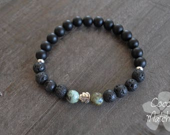 Bracelet pour homme - Noir - Vert - Pierres naturelles - Yoga - Coco Matcha