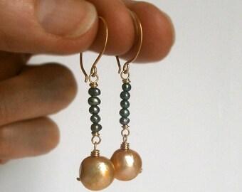 Orange Pearl Blue Pearl Earrings 14k Gold Fill Dangles Modern Pearl Drops Earrings Colorful Earrings June Birthstone