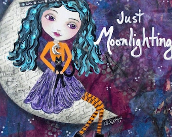 JUST MOONLIGHTING, Witch, Halloween Decor, Cute Witch, Moon, Purple, Holiday decor, Autumn, Fall, art, Wall Decor, Art Print, Mixed media