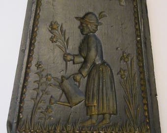 Black Wax Springerle Style Dutch Cookie Mold and Wall Hanging - Woman Gardener - German Lady Watering Her Flower Garden