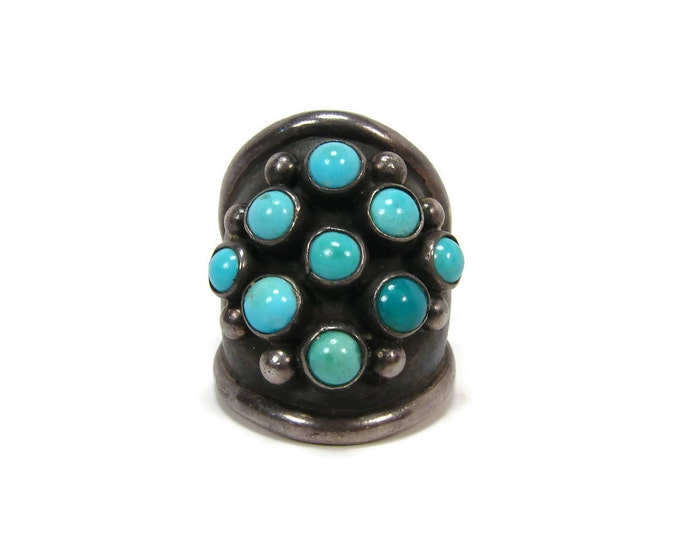 Vintage Native American Turquoise Sterling Snake Eye Ring