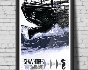SEAWHORES screen print gig poster -  aquatic, blue, water, aquarium, boat, fins, teeth, fishing, shark, seahorse, poster, print, art