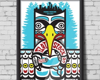 FLATSTOCK 27 screen print poster - Bumbershoot, Seattle, Washington - native, totem, fish, art, eagle, salmon, print, blue, red, yellow