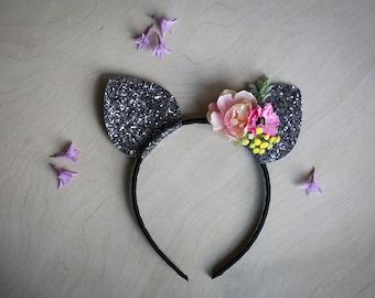 Pretty Kitty Cat Ears Headband - Girls Cat Ears - Kitty Ears Costume - 1st 2nd 3rd Kitty Cat Birthday Party