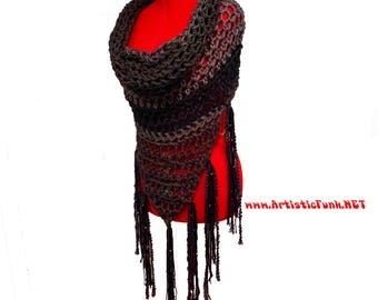 Poncho Front Cowl, Hooded Scarf, Beaded Fringe, Chunky Scarves, Hoodie Scarf, Oversized Scarf, Hippie Clothes, Bohemian