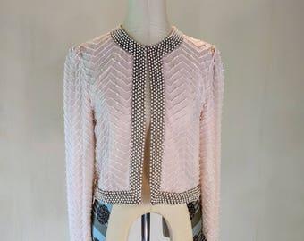 Pastel Pink Beaded Cardigan Jacket Top Glam