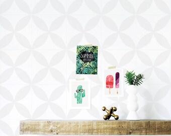 Stellar Wallpaper, Soft Gray Wallpaper, Kids Wallpaper, Geometric, Wall sticker, Self-Adhesive Wallpaper, Removable. Stellar Wallpaper