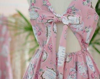 Pink dress pink floral dress pink vintage dress backless dress bow back dress pink bridesmaid dress floral bridesmaid dresses party dress