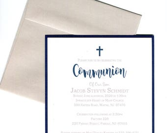 First Holy Communion Invitations Boy Navy- Christening, confirmation, Baptism, Dedication