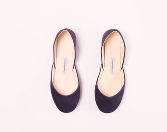 The Navy Ballet Flats | Soft Nubuck Leather Shoes | Women's Slip Ons | Pointe Style Shoes in Dark Navy