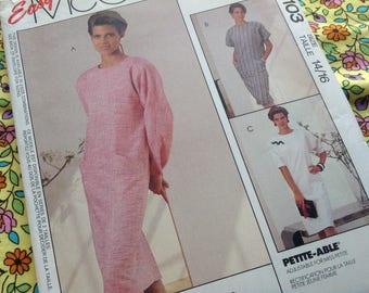 Vintage Mccalls Pattern 4103, Dress Pattern, Easy Sew Pattern, Size 14 16, Uncut Pattern