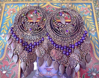 Huge Exotic Moroccan Chandelier Earrings, Indigo Purple Boho Bronze Gypsy Hoops, Coins, Wood, Swarovski Mandala, Wide & Full