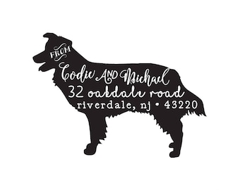Dog Personalized Custom Return Address Rubber Stamp or Self Inking Dog Breed Stationery Envelope Gift Silhouette Dog Shepherd Collie