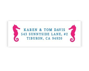 Seahorse Label Sticker Beach Address Ocean Seaside Collection - 36 Couple Return Address Love
