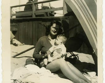 "1945 Vintage Photo ""The Beautiful Beach Babysitter"" Travel Vacation Woman Lady Holding Baby Umbrella Shadow Americana Picture Snapshot- 49"