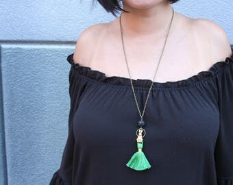 Kelly Green Tassel, Lava Stone, and Brass Bunny Pendant // Essential Oil Diffuser Jewelry // Festival Jewelry // Colorful Tassel Necklace