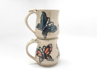 Pair of Butterfly Mugs, Ready To Ship