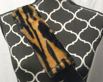 Car or Baby Car Seat Belt Covers made with Black and Brown animal print Minki