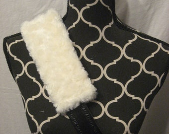 Car or Baby Car Seat Belt covers made with Cream (off white) Minki