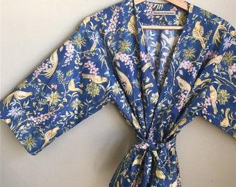 Blue Kimono Robe. Blue Bridesmaid Robes. Blue Dressing Gown. Blue Birds in Paradise. Royal Blue Bridesmaids Robes.