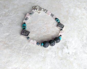 Essential oil diffuser, Bracelet, lava bead bracelet, turquoise, pink quartz, whimsical style, mothers day gift, gift for her, spring colors