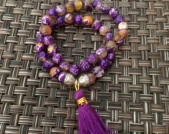 Bohemian Purple Agates Beaded Stackable Stretch Bracelet